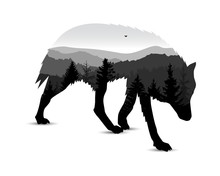 Silhouette Of Running Wolf With Mountain Landscape. Grey Tones.