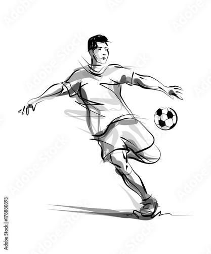 Fotografie, Tablou  Vector line sketch footballer