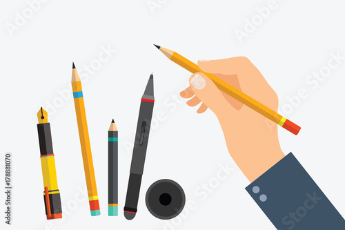 Fotografía Man's hand with writing tools and office supplies set