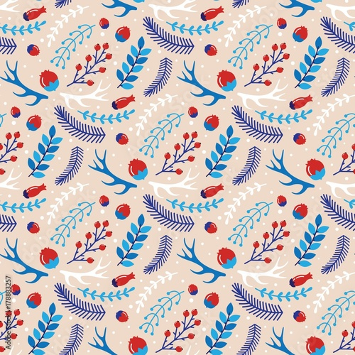 Cotton fabric Christmas seamless pattern with the image of branches and berrie
