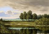 Malarstwo krajobrazowe, olejna farba cyfrowa, sztuka, rzeka, drzewa, niebo - 178886436