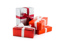 Many Gift Box White Ribbon Isolated On White Background, Using For Christmas And New Year Or Holiday Other.