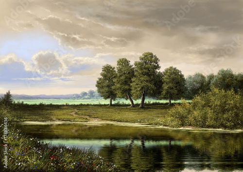 Paintings landscape, oil digital paint, art, river, trees, sky