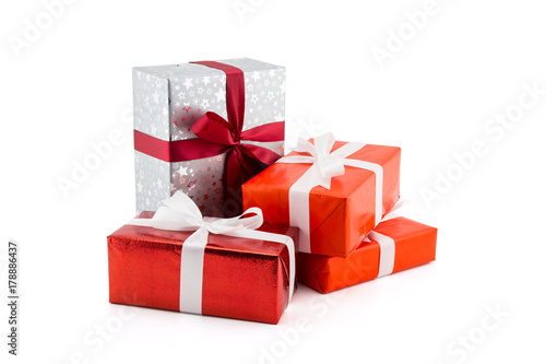 Many gift box white ribbon isolated on white background, using for christmas and new year or holiday other Fototapet