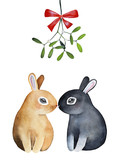 Two cute bunnies kissing under mistletoe, christmas bough tradition. Black gray and beige fawn color. Hand drawn watercolor illustration isolated on white background. Holiday greeting postcard design. - 178886825