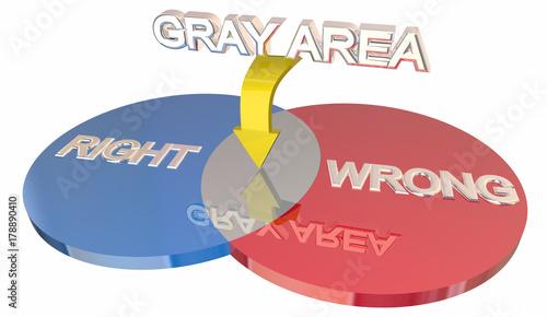 Photo Gray Area Right Vs Wrong Ambiguity Venn DIagram 3d Illustration