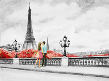 France, Eiffel Tower And Coupl...