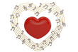 Red big heart and heart made with musical notes.3D illustration.
