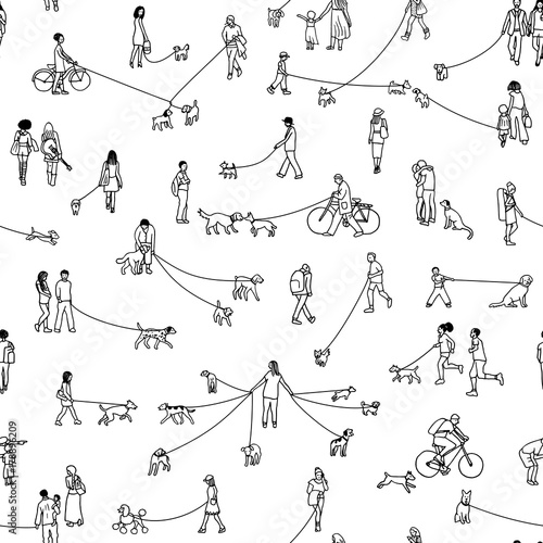 fototapeta na ścianę Seamless pattern with tiny people walking their dogs, black and white outline ink illustration