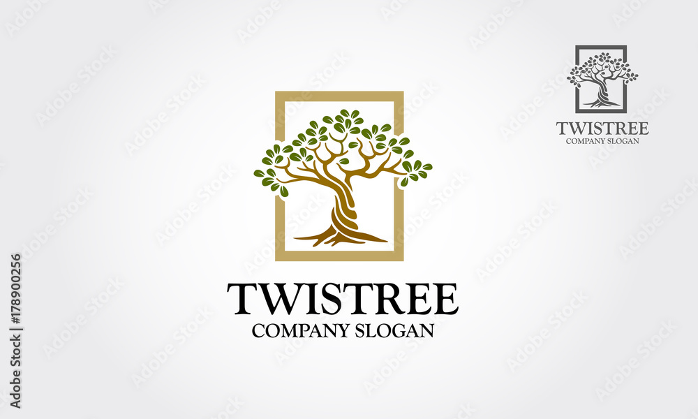 Fototapeta An illustration of two saplings twisted around each other in a helix. Illustration with the tree. Logo Vector illustration.
