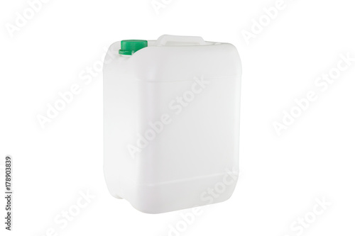 Fotografía  White plastic container isolated on white background