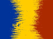 Romania Flag Design Concept. Flag Textured By Grungy Wood Pattern. Image Relative To Travel And Politic Themes