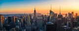 Fototapeta New York - Aerial panoramic cityscape view of Manhattan, New York City at Sunset