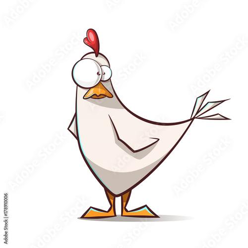 Carta da parati Funny, cute cartoon hen characters. Vector eps 10