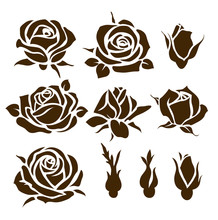 Vector Set Of Decorative Rose Icon. Flower Silhouette