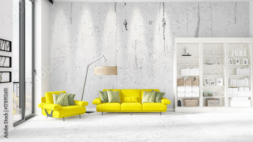 Fototapety, obrazy: Scene with brand new interior in vogue with white rack and yellow couch. 3D rendering. Horizontal arrangement.