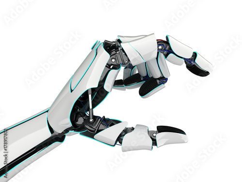 3D rendering robotic hand on a white background Wallpaper Mural