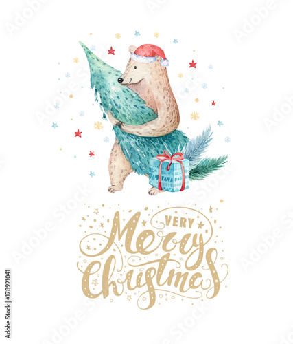 cute kids xmas forest bears animal illustration new year card or