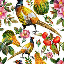 Hand Painted Watercolor Vintage Autumn Seamless Pattern With Pheasants And Dog Rose