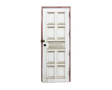 Isolated Locked Old White Door With No Knob On White