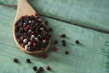 Mix Peppercorns In Spoon