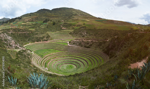 Fototapeta Panorama of moray sacred valley