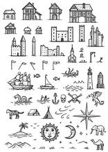 Map Elements Illustration, Dra...