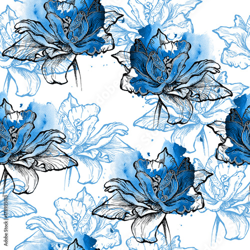Blue Seamless Floral Pattern Tulips In Watercolor Splash And Graphic Black Outlines Cobalt