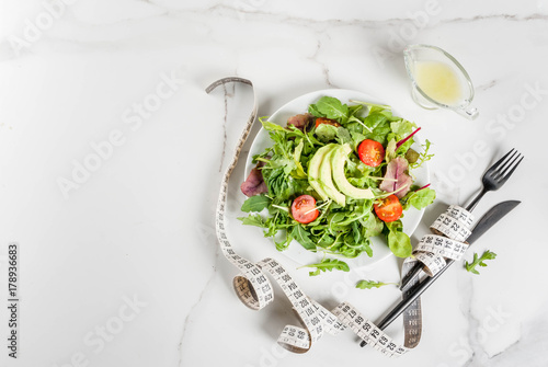 Photo Healthy balanced diet concept, weight loss, calorie counting