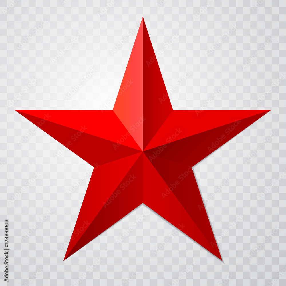Fototapety, obrazy: Red star 3d icon with shadow on transparent background. Vector illustration for USSR design