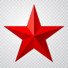 Red Star 3d Icon With Shadow O...