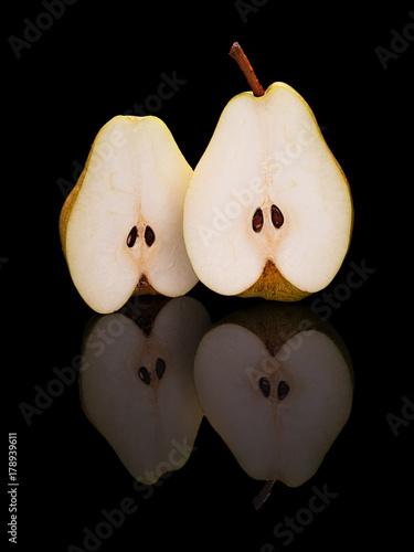 Two half-cut pear