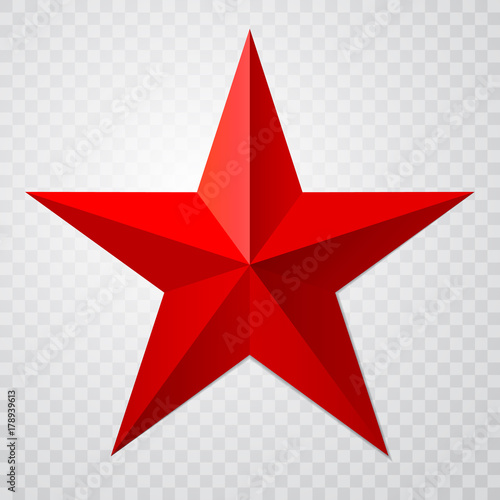 Red star 3d icon with shadow on transparent background. Vector illustration for USSR design Wall mural