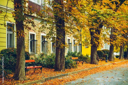 Keuken foto achterwand Begraafplaats old european city street view in autumn day