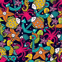 FototapetaChildren's seamless pattern with marine motifs.