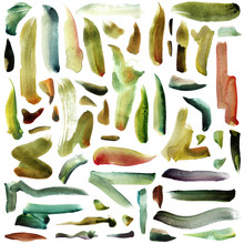 Large Raster Illustration With Green-yellow, Mint And Grass Green Bright Brush Watercolor Strokes Isolated On White