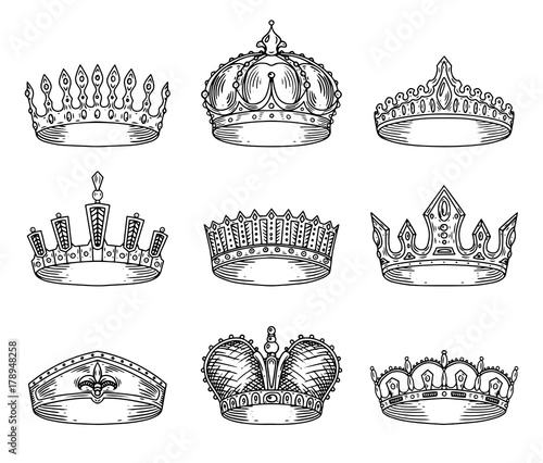 Set of isolated sketch for crown or tiara Poster Mural XXL
