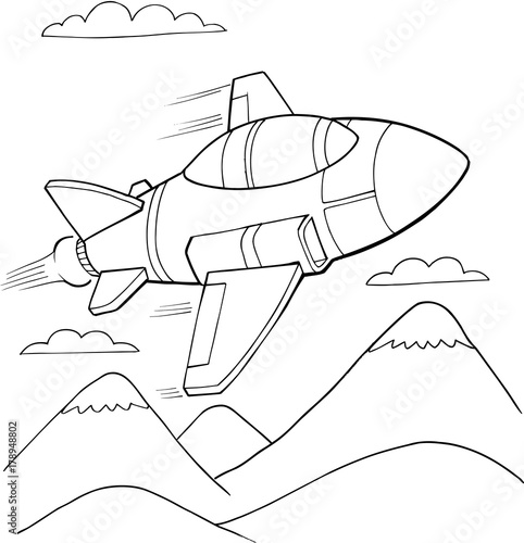 Canvas Prints Cartoon draw Cute Military Aircraft Vector Illustration Art