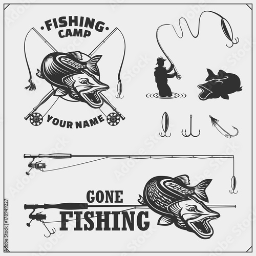 Fotografie, Obraz  Set af fishing labels with a pike and fishing tackle