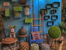 Vintage Colorful Furniture And Other Staff At Shop At Jaffa Flea Market, Tel Aviv-Jaffa, Israel.