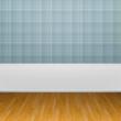 3d interior rendering of blue wallpaper and wooden floor