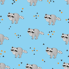 Seamless Pattern With Cute Rac...