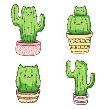 Set Of Cute Cartoon Cat Cactus. Vector Illustration.