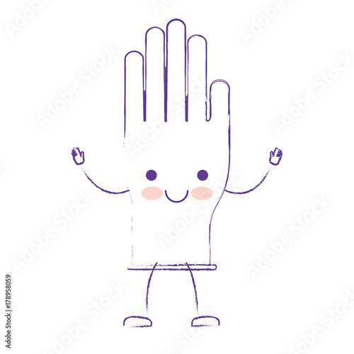 Fototapeta kawaii cartoon single glove in purple blurred silhouette obraz na płótnie