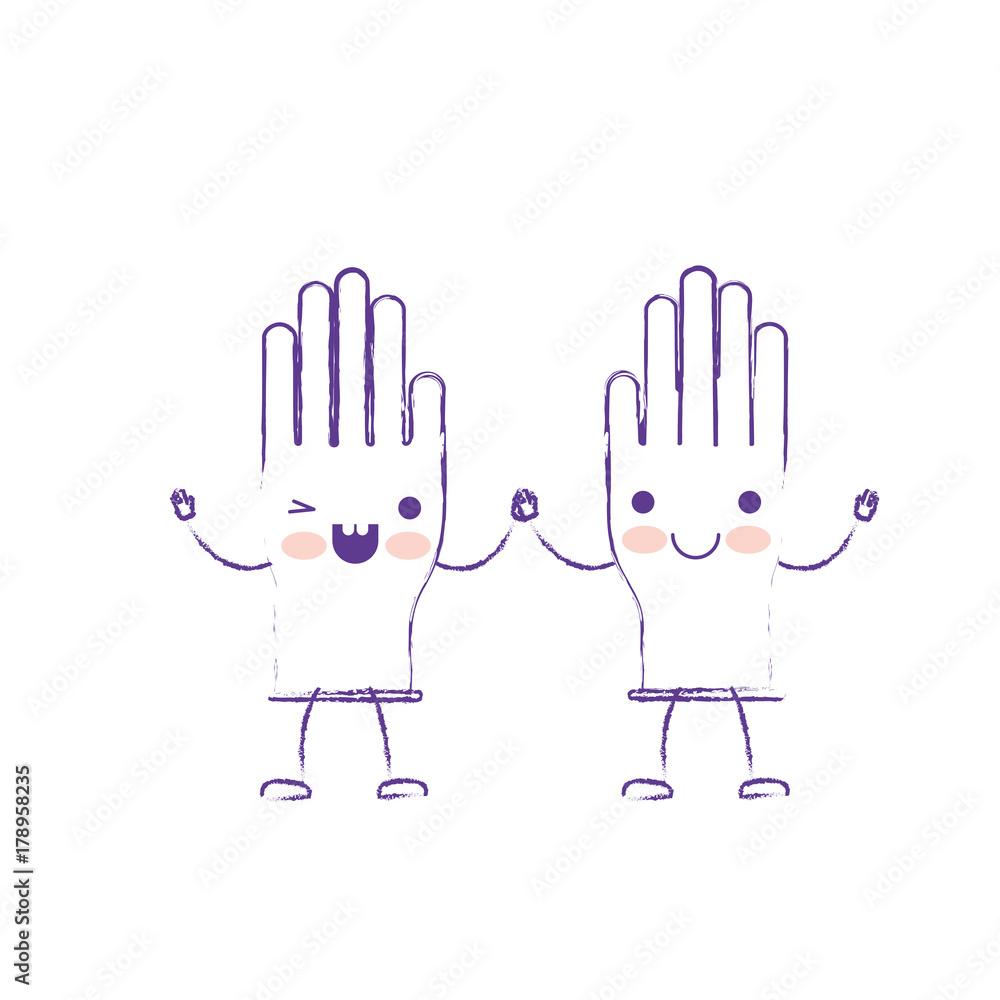 Fototapeta kawaii cartoon pair gloves holding hands in purple blurred silhouette - obraz na płótnie