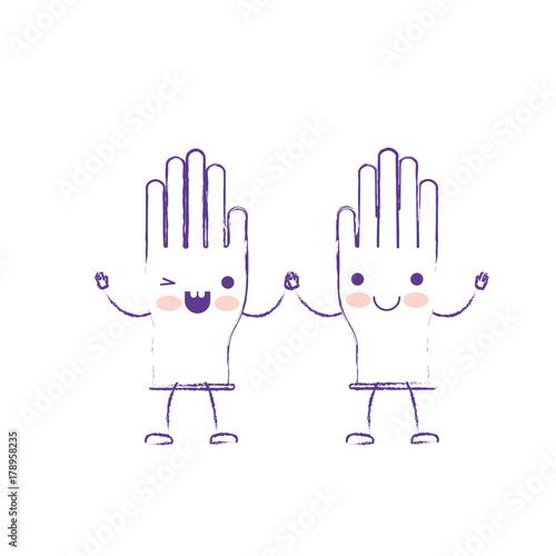 Fototapeta kawaii cartoon pair gloves holding hands in purple blurred silhouette obraz na płótnie