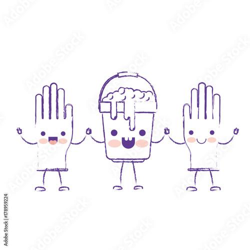 Fototapeta kawaii cartoon gloves and bucket with soapy water holding hands in purple blurred silhouette obraz na płótnie