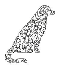 Dog. Hand Drawn Dog With Abstr...
