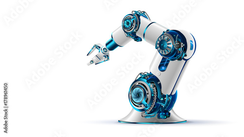 Foto robotic arm 3d on white background