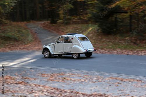 Photo  french classic car called duck on the road